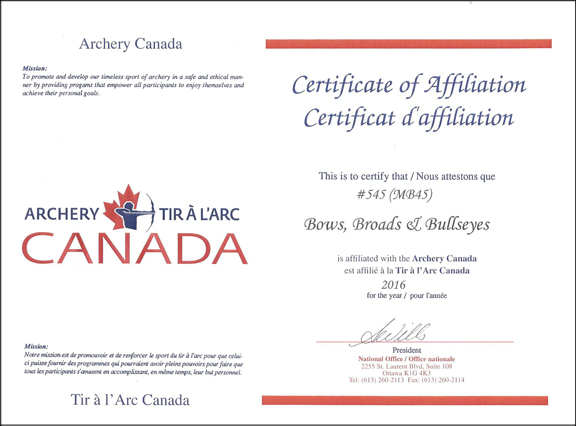 Image of our Club Affiliation Certificate from Archery Canada