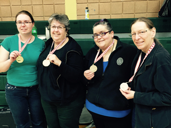 Photo of Sarah W, Karen B, Fran M and Inga T with their medals after the Provincials Mar 22, 2015